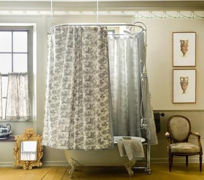 Une salle de bains r tro on y revient avec d lices - Support rideau de douche circulaire ...