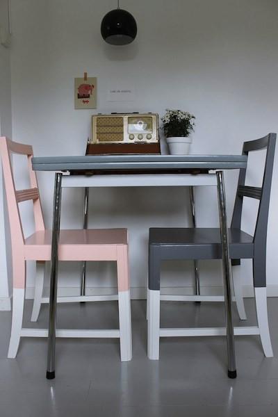 chaises de cuisine peintes - Peindre Des Chaises En Bois