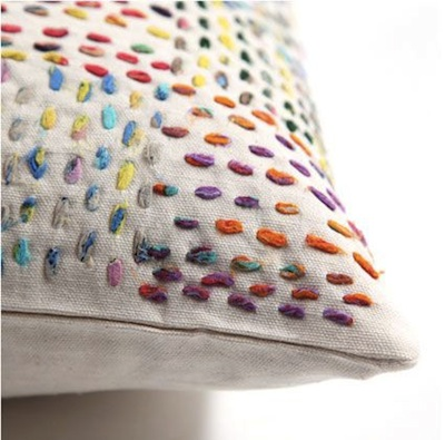 coussin broderie laine