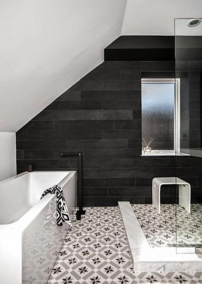 Salle de bains moderne - Salle de bain carreaux ciment ...