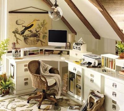 Bureau en soupente - Fabriquer son bureau d angle ...