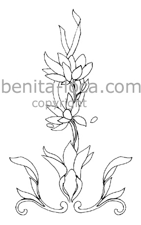 Dessin fleur et ruban pour peinture sur porcelaine - Peindre sur verre 100 modeles originaux ...