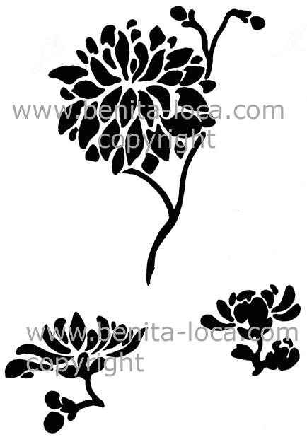 pochoir de fleurs chinoises. Black Bedroom Furniture Sets. Home Design Ideas