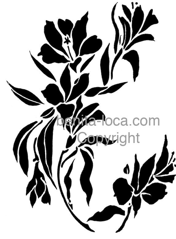 Pochoir  Branche Fleurie Mauve