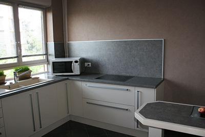D coration cuisine en taupe gris et blanc - Photo de credence pour cuisine ...