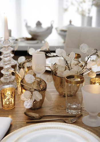 D cor de table or et blanc pour no l - Decoration table de noel or et blanc ...