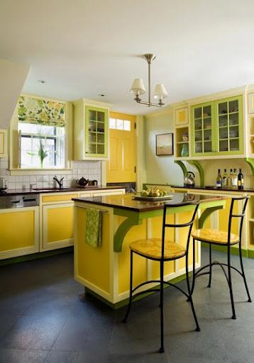 peinture cuisine jaune et gris une touche de vert jaune est rserve aux plinthes en - Cuisine Peinte En Jaune
