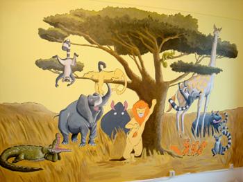 Une chambre d\'enfants originale: peinture murale