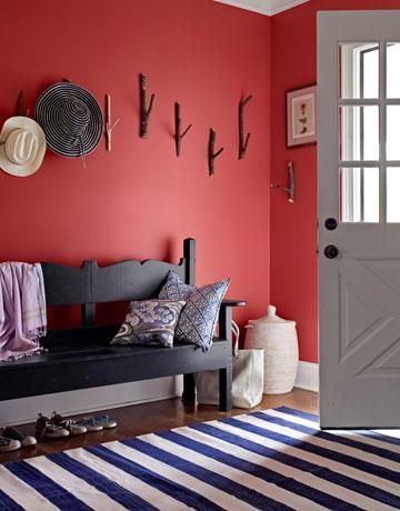 decoration mur rouge et gris